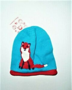 Hanna Andersson Knit Knitted Sweater Fox Blue Red Hat Infant Baby S Small NEW