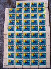 """1998 USPS """"H"""" Make-Up Rate Sheet Of 49 Mint Rooster Stamps *Free S&H USA*"""