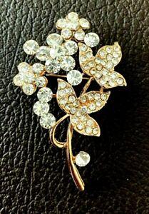 PIN BROOCH FLOWER GOLD FINISH DIAMANTE CRYSTAL BOUQUET WEDDING BRIDAL NEW