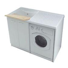 Mobile coprilavatrice con doppia anta e lavatrice a destra bianco lavanderia
