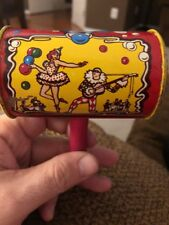Vintage 1950'S Small Kirchhof Tin Shaker Noisemaker With Wooden Handle