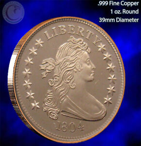 """1804 Draped Bust"" 1 oz .999 Copper Round SilverTowne"