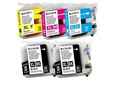 5PK Hi-Yield 2 BK & 3 Color Ink For Brother LC103 XL Hi Yield  With New Chip