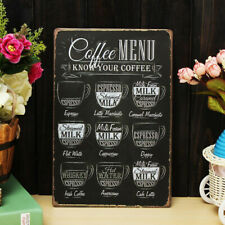 Romanti Coffee Menu Tin Sign Bar Pub Shop Home Wall Decor Retro Metal Art Poster