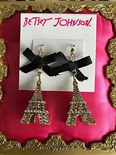 Betsey Johnson Betsey Goes To Paris Gold Eiffel Tower French Black Bow Earrings