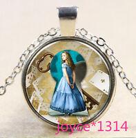 Alice in Wonderland Cabochon Tibetan silver Glass Chain Pendant Necklace #611