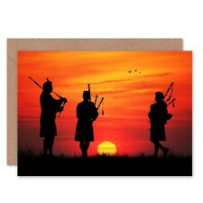 Bagpipes Scottish Silhouette Sunset Blank Greeting Card With Envelope