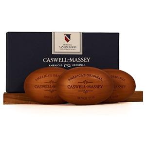 Caswell-Massey Triple Milled Luxury Bath Soap Woodgrain Boxed Set, Sandalwood 3