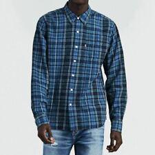 Levi's Indigo Sunset One Pocket Linen Blend Blue Classic Western Shirt M XL XXL