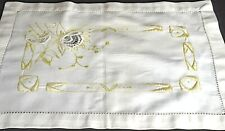 Antique Small ARTS & CRAFTS Embroidered Table RUNNER table Mat CHARTREUSE UU862