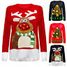 Unisex XMAS Special 3D Rudolph -Nose Jumper With LED Flashing Lights 8-24