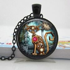 UK STEAMPUNK CAT PENDANT NECKLACE / Chain Glass Jewellery Gift Idea Mechanical