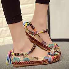 Women Ethnic Lace Up Beading Round Toe Comfortable Flats Loafers Shoes Exquisite