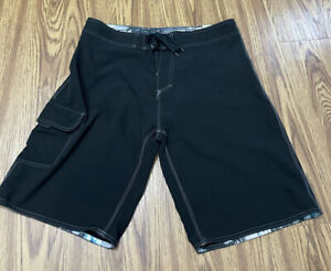 #910 MEN Burnside Black SWIMMING BOARD SHORTS  Size 34 Good Condition