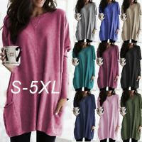 Women's Loose Top Tee Ladies Casual Pocket Sweater Long Sleeve T-Shirts Tops