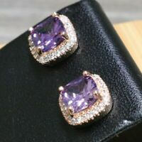 Sparkling Purple Amethyst Stud Earrings Women Wedding Jewelry 14K Rose Gold