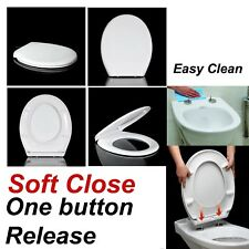 LUXURY SLOW SOFT CLOSE WHITE OVAL BATHROOM TOILET SEAT WITH METAL FIXING HINGES