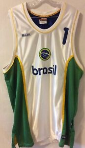 AND1 Collection Sz L Brasil #1 Basketball Jersey Sewn Green Gold White