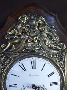 Antique Old Montmoreau Clock Face Enamel Embossed Brass French France Hands