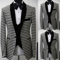 Houndstooth Groomsmen Shawl Lapel Groom Tuxedos Men Wedding Formal Prom Suits