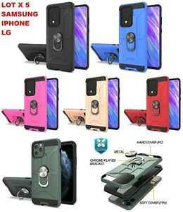 lot 5 IPHONE 13 PRO 12 11 Samsung S20 Ultra NOTE 20 Plus Case armor Ring Stand