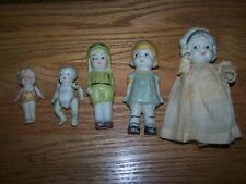 5 Old Small Japan Bisque Dolls- Assorted Sizes- Some Moving Arms with Wires