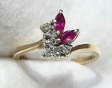 Hallmarked 9ct Gold , 6 Diamond,2 Marquise Ruby Asymetric Ring Size K (US 5-1/2)