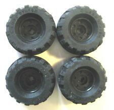 Lego 37x18 R Technic Tire/Wheel LOT OF 4 -Black w/ X axle hole -55982 / 56891-