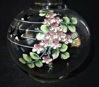 jolie petite carafe en verre soufflé et émaillée à décor d ' hirondelles 19ème