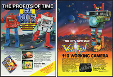 GOBOTS_/_VOLTRON__Original 1985 Trade print AD / 2-sided toy promo__watch_camera