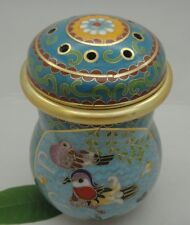 Noble Chinese Cricket Tank Insect Pot, Cloisonne Enamel mandarin duck Flower