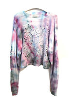 Urban Outfitters Sweatshirt Top Tie Dye Eyelet Embroidered White Size Small NWT