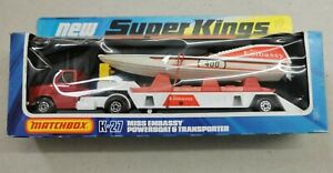 MATCHBOX SUPERKINGS  MODEL No.K-27 POWERBOAT & TRANSPORTER BOXED Miss Embassy