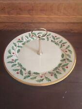 Vintage Lenox Holiday Dimension Collection Christmas Holly Center Handle Tray