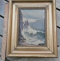 small antique seascape oil painting