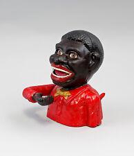 9937934 Eisenguss Figur mechanische Spardose schwarzer Mann rot