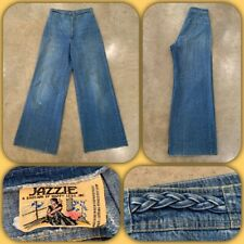 Vtg 70s Jazzie Happy Legs Denim Jeans Braided 26 X 31 High Waist Bell Bottom