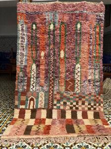 Vintage Moroccan Azilal Handmade Rug MA3 Wool Berber Tribal 8ft5''X5ft 2''/soft
