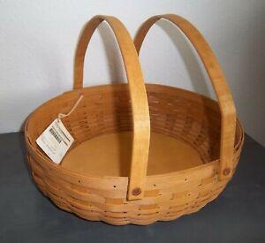 Longaberger WARM BROWN SOCIAL GATHERING Basket with swinging handles ~ 2012