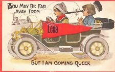 Lena WI You May Be Far Avay, But I Am Coming Quick~Vintage 1913 Automobile