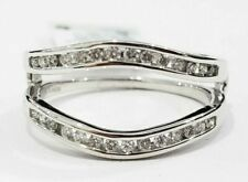 1/4 Ct Solitaire Enhancer Round Diamonds 14k White Gold Ring Guard Wrap