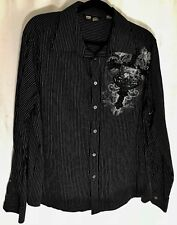 NOBO MENS COTTON CASUAL SHIRT SZ XL {46-48} BLACK/WHITE STRIPE GRAPHICS L CHEST