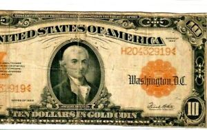 """$10 """"GOLD CERTIFICATE"""" 1922  $10 """"GOLD CERTIFICATE"""" $10 """"LARGE SIZE""""!! NICE !!!"""
