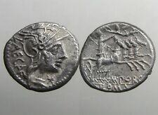 PORCIA 3 SILVER DENARIUS____Roman Republic_____LIBERTY CROWNED BY FLYING VICTORY
