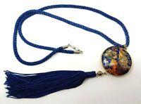 Vintage Blue Cloisonne Peacock Gold tone Asian  pendant Necklace