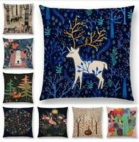 Forest Animal Cotton Linen Pillow Case Cushion Cover Waist Cover Home Decor