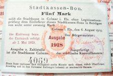 ANCIEN BILLET RARE - STADTKASSEN-BON  COLMAR  1918 - FUNF  MARK