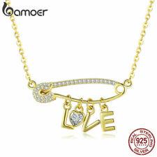 BAMOER S925 Sterling Silver necklace Golden Pendant Love clip & CZ Women Jewelry