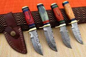 """6"""" MH KNIVES CUSTOM HANDMADE DAMASCUS STEEL LOT OF 4 HUNTING/SKINNER KNIFE LOT3W"""