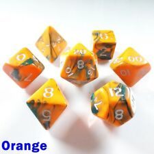 Toxic Poly 7 Dice RPG Set Orange Green D&D 5e Pathfinder Dungeons Dragons DND